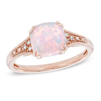 8 0mm Cushion Cut Lab Created Pink Opal And White Sapphire