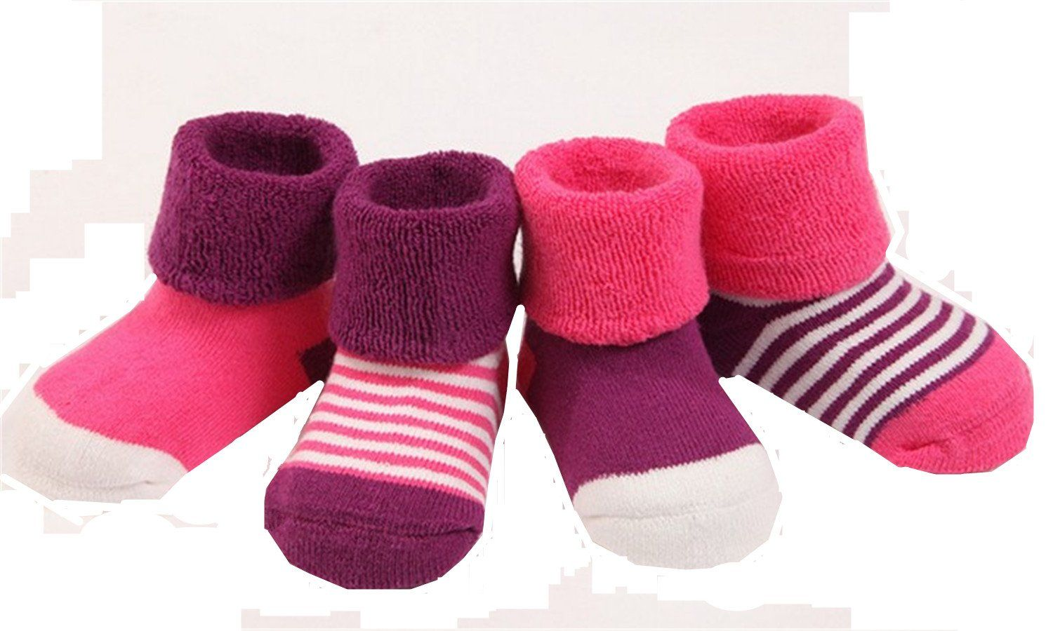 Pack of 3 Baby Boys Girls Unisex Stripes Winter Thick Socks Age 1 to 3