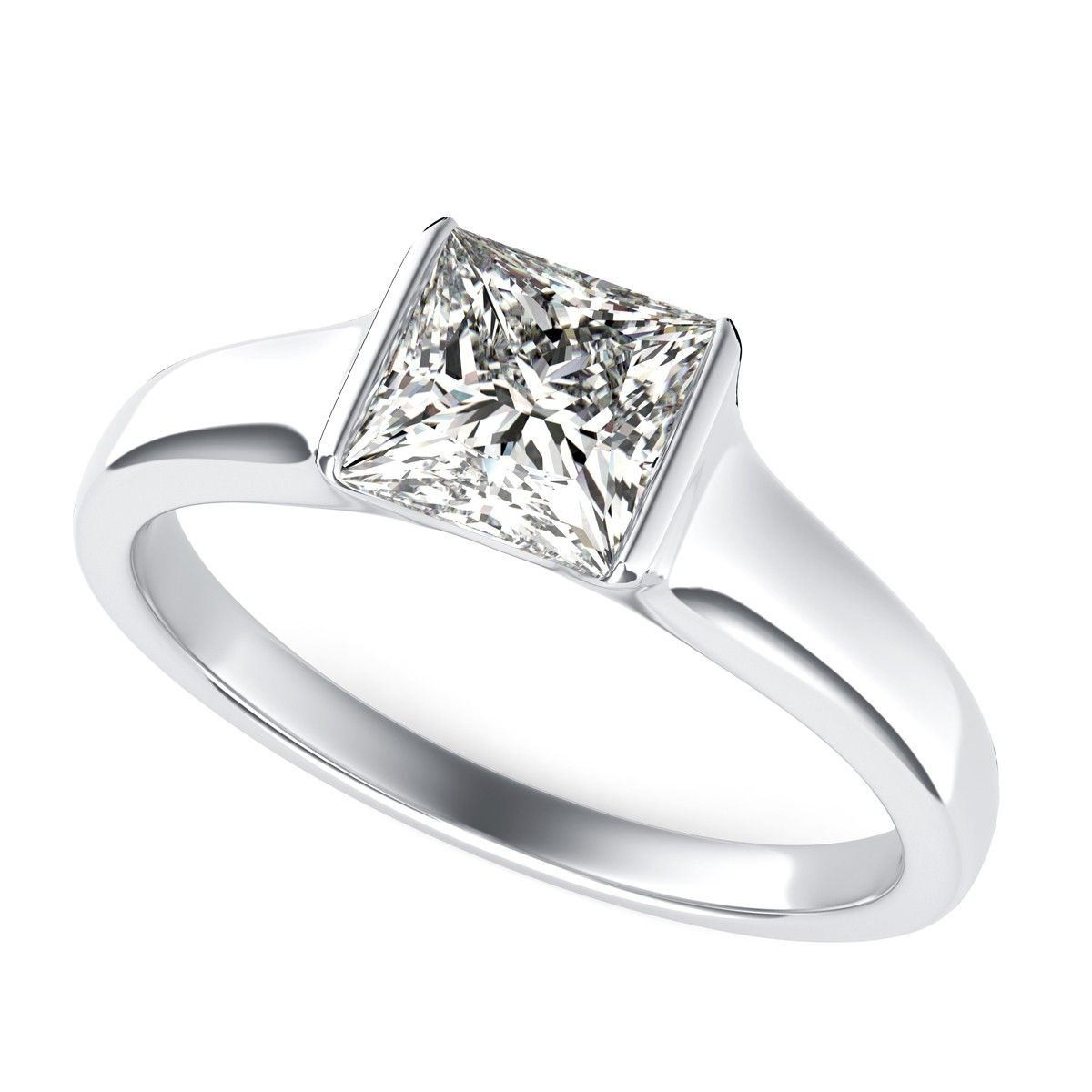 Tension Set Engagement Ring With Princess Cut Diamond By