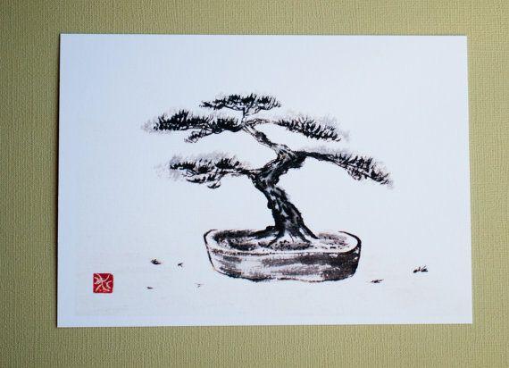 Print bonsai tree japanese ink drawing sumi e - Dessin bonzai ...