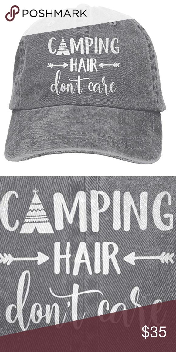 Unisex Camping Hair Don/'t Care Vintage Adjustable Baseball Cap Denim Dad Hat