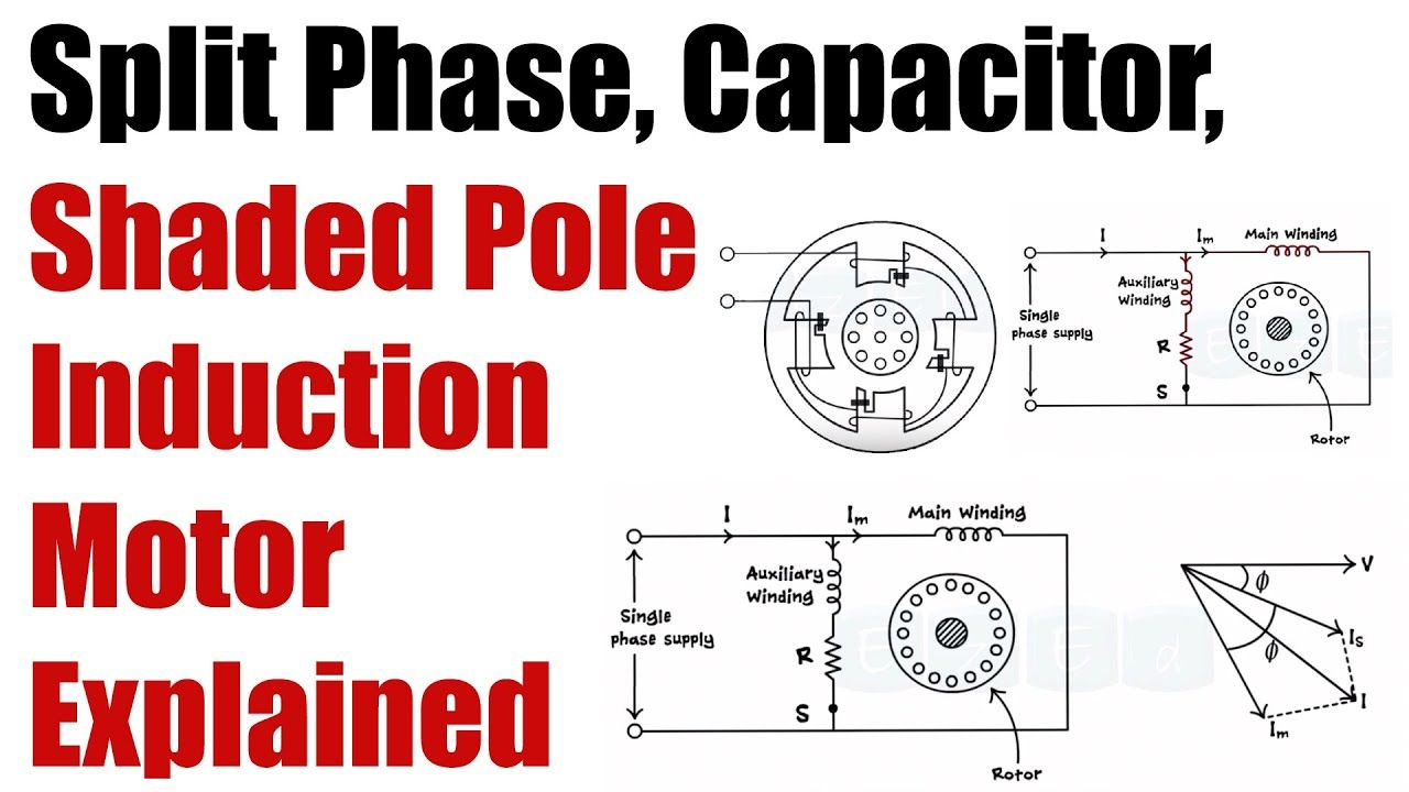 Working Of Split Phase Capacitor Shaded Pole Induction Motor Basic Basic Electrical Engineering Capacitors Induction
