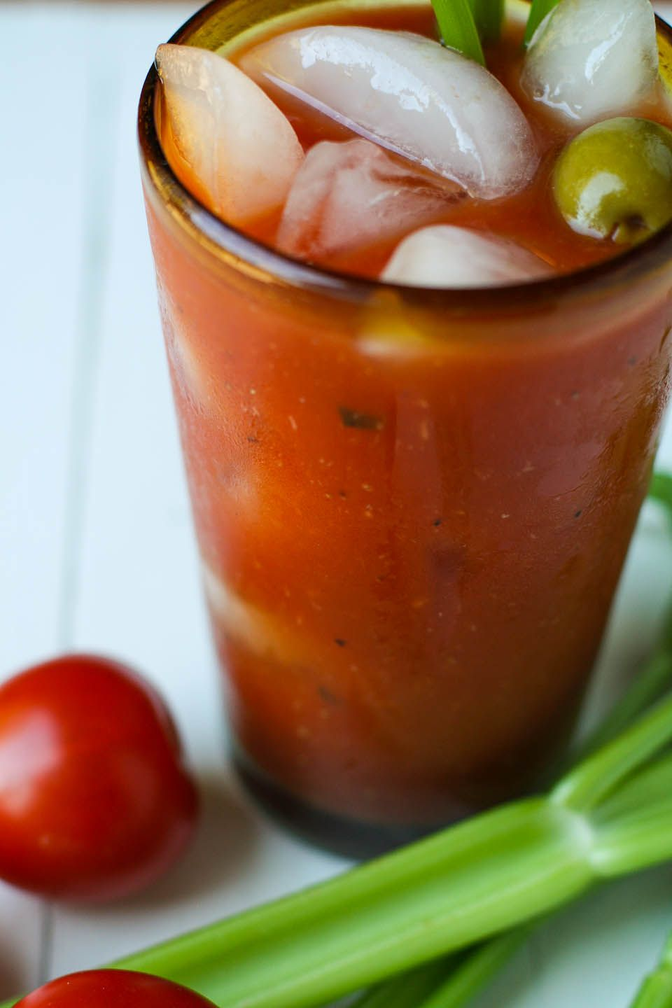 Never really knew what ratio of ingredients I should put in a Bloody Mary. Now I do! Stirred furiously instead of using a mixer. Did not bother with olives. Will do again.