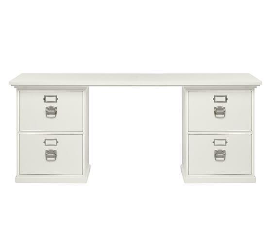 Bedford 70 Quot 4 Drawer Rectangular Desk Antique White Desk Set Pottery Barn Desk Modular Desk