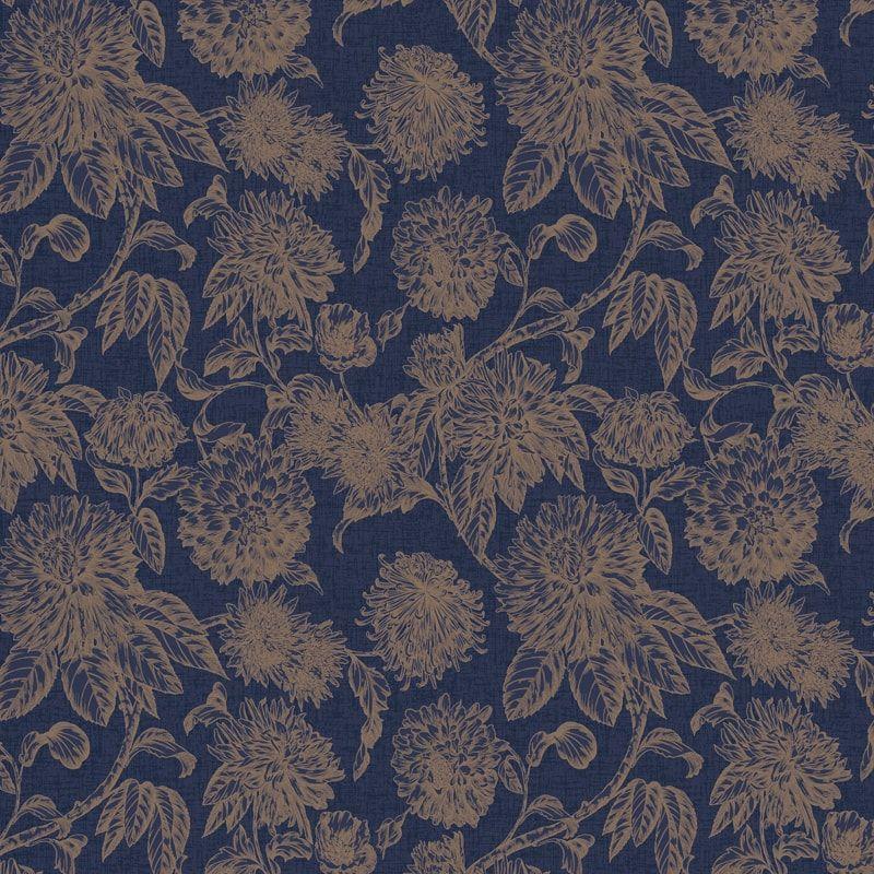 Luxe Botanica Wallpaper Navy & Gold Botanica, Diy