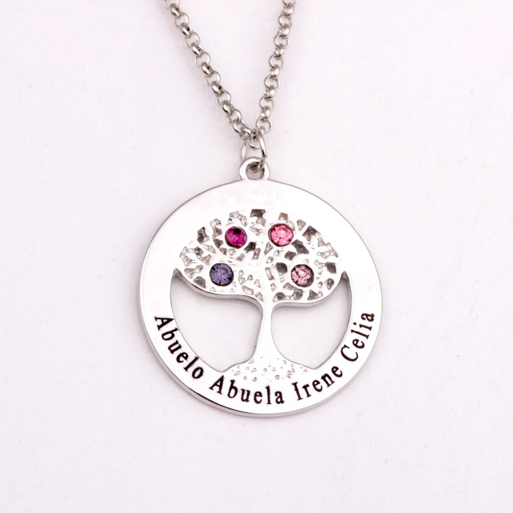 Circle tree necklace with birthstones personalized birthstones circle tree necklace with birthstones personalized birthstones family necklaces custom made any name yp2495 aloadofball Choice Image
