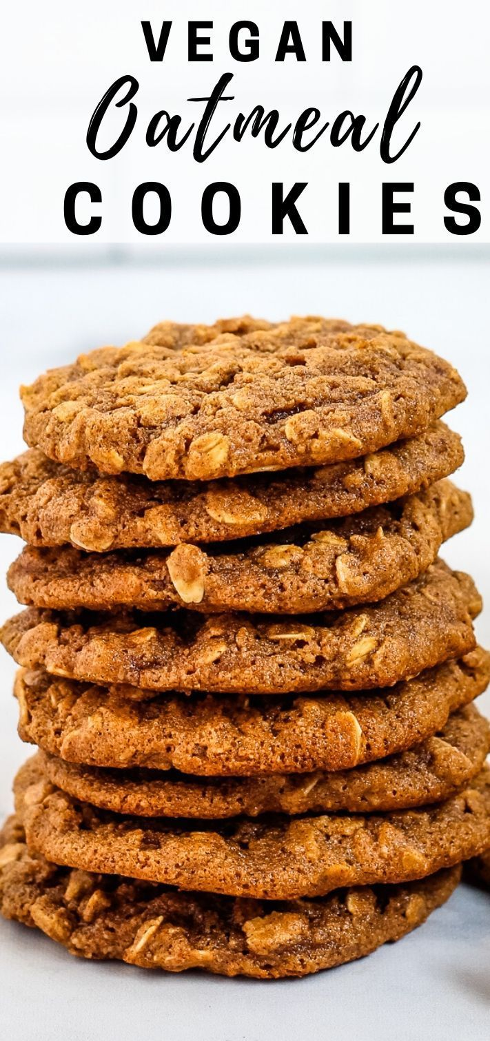 These Simple Vegan Oatmeal Cookies Are Soft And Chewy Made With Almond Flour And Sweetened With Maple Syrup Vegan Oatmeal Cookies Vegan Oatmeal Vegan Cookies
