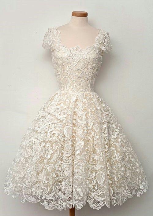 2016 Short 3 4 Sleeve Vintage Tea Length White Ivory Lace Wedding Dresses 4 18 Short Lace Wedding Dress 1950s Style Wedding Dresses Online Wedding Dress