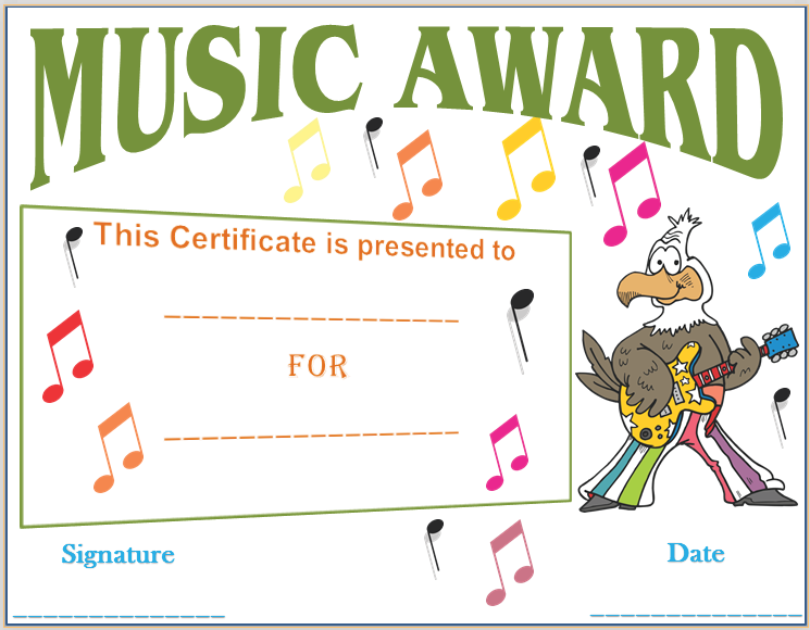 Musical notes award certificate template award certificate musical notes award certificate template yelopaper Gallery