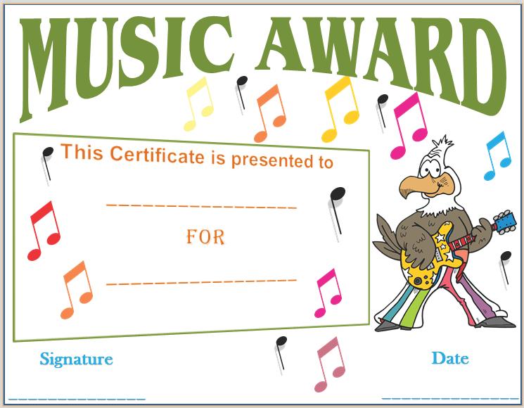 Musical Notes Award Certificate Template | Award Certificate ...