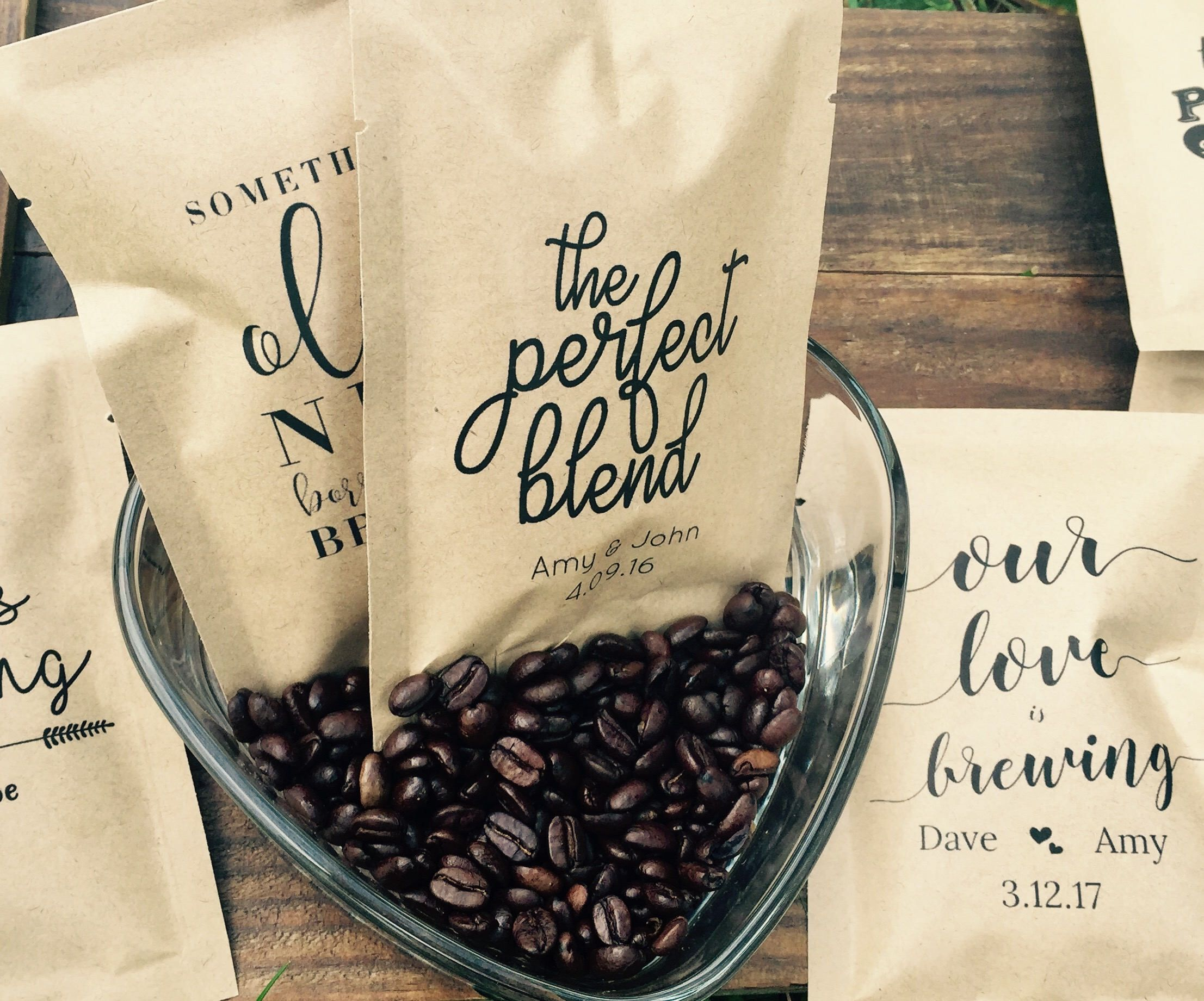 The Perfect Blend, Love is brewing, Coffee Wedding Favor