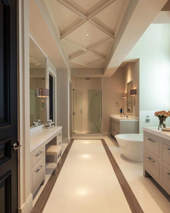 Glass Shower Behind Vanity Extra Entry Door Hides Dressing