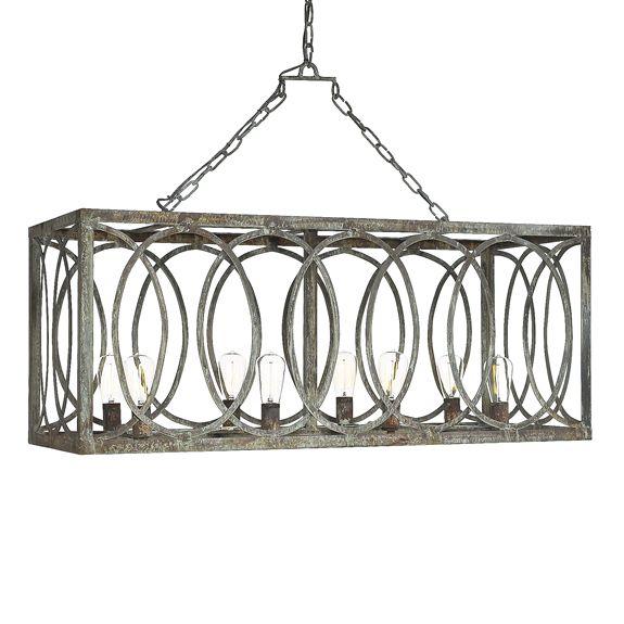 French Iron Charles Rectangular Chandelier 8 Light – Iron Lighting Chandeliers