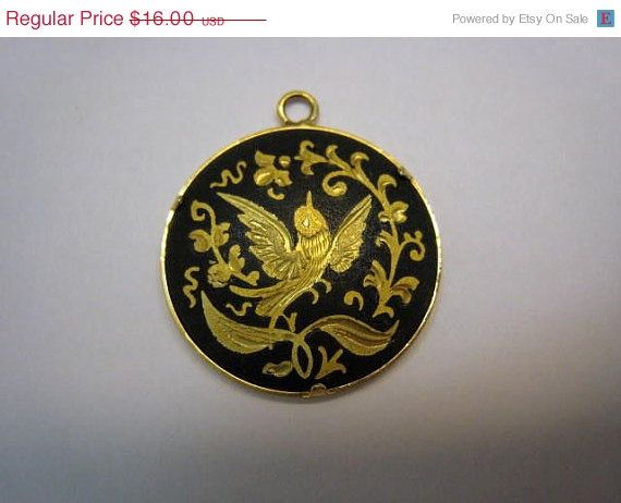 ON SALE Vintage Spain Toledo Damascene Gold Black by Glamaroni