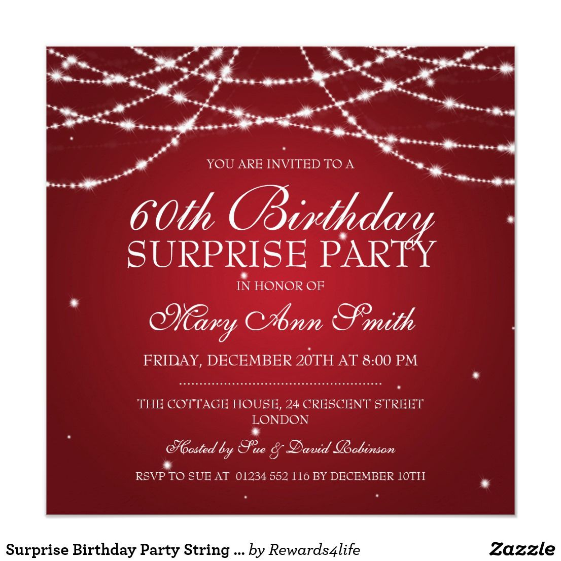 Surprise Birthday Party String of Stars Red Invitation in 2018 ...