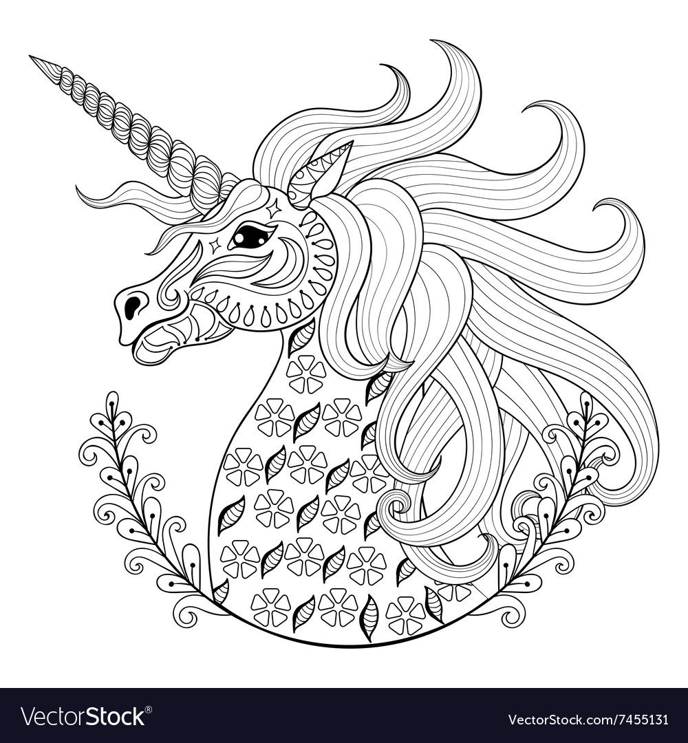 Hand drawing Unicorn for adult anti stress vector image on