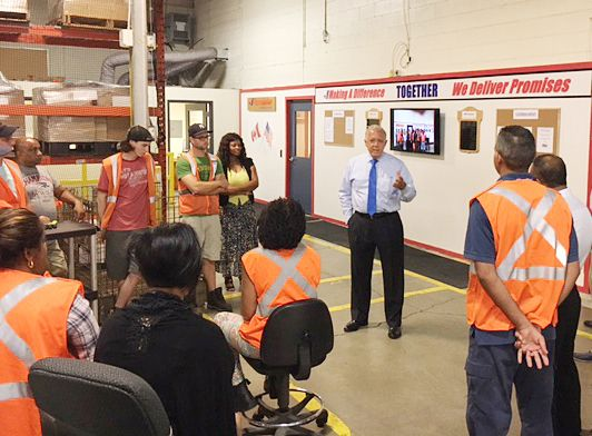 """Purolator International President John Costanzo recently visited the team at our induction facility in Etobicoke, Ontario. He discussed company performance and gave the team an enormous """"Thank You"""" for continuously high service levels."""