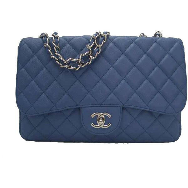 Chanel Blue Caviar Leather Jumbo 2.55 Quilted Flap Bag ($1,573) ❤ liked on Polyvore featuring bags, handbags, purses, borse, sacs, quilted purses, chanel purse, quilted handbags, quilted leather handbags and hand bags