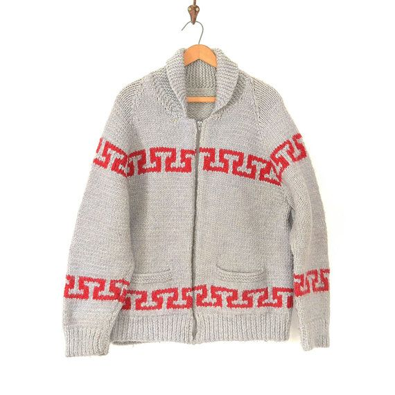 fdb8128ac Vintage Cowichan Sweater - Hand Knit Wool 80s Boho Cardigan Sweater - Heavy  Wool WInter Ski