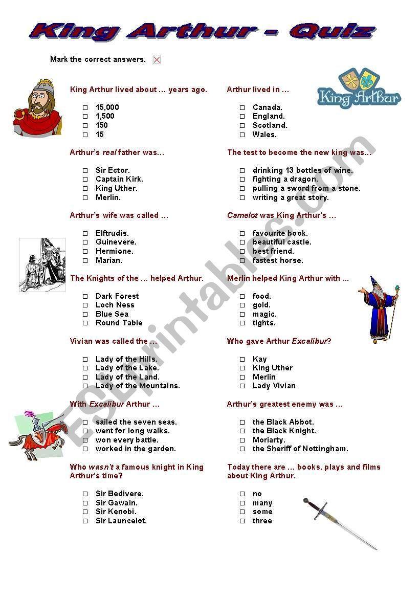 King Arthur Quiz Multiple Choice King Arthur Teacher Sites Reading Worksheets