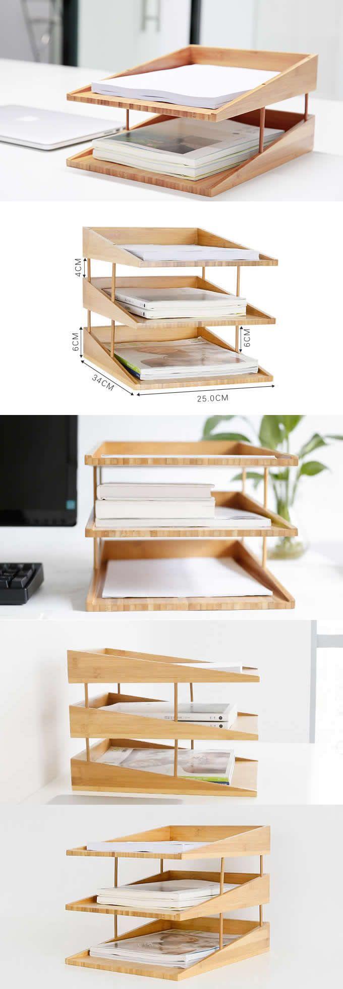 Bamboo Multi Tier Desk Organizer Tray Letter File