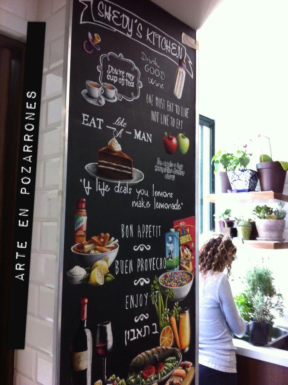 Chalkboard arte en pizarrones cocinas amarte dec ra en for Tiendas de muebles para restaurantes