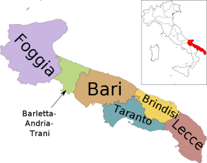 Cartina Puglia Con Province.Il Giro D Italia Con Le Regioni La Puglia Mappa Dell Italia Geografia Attivita Geografia