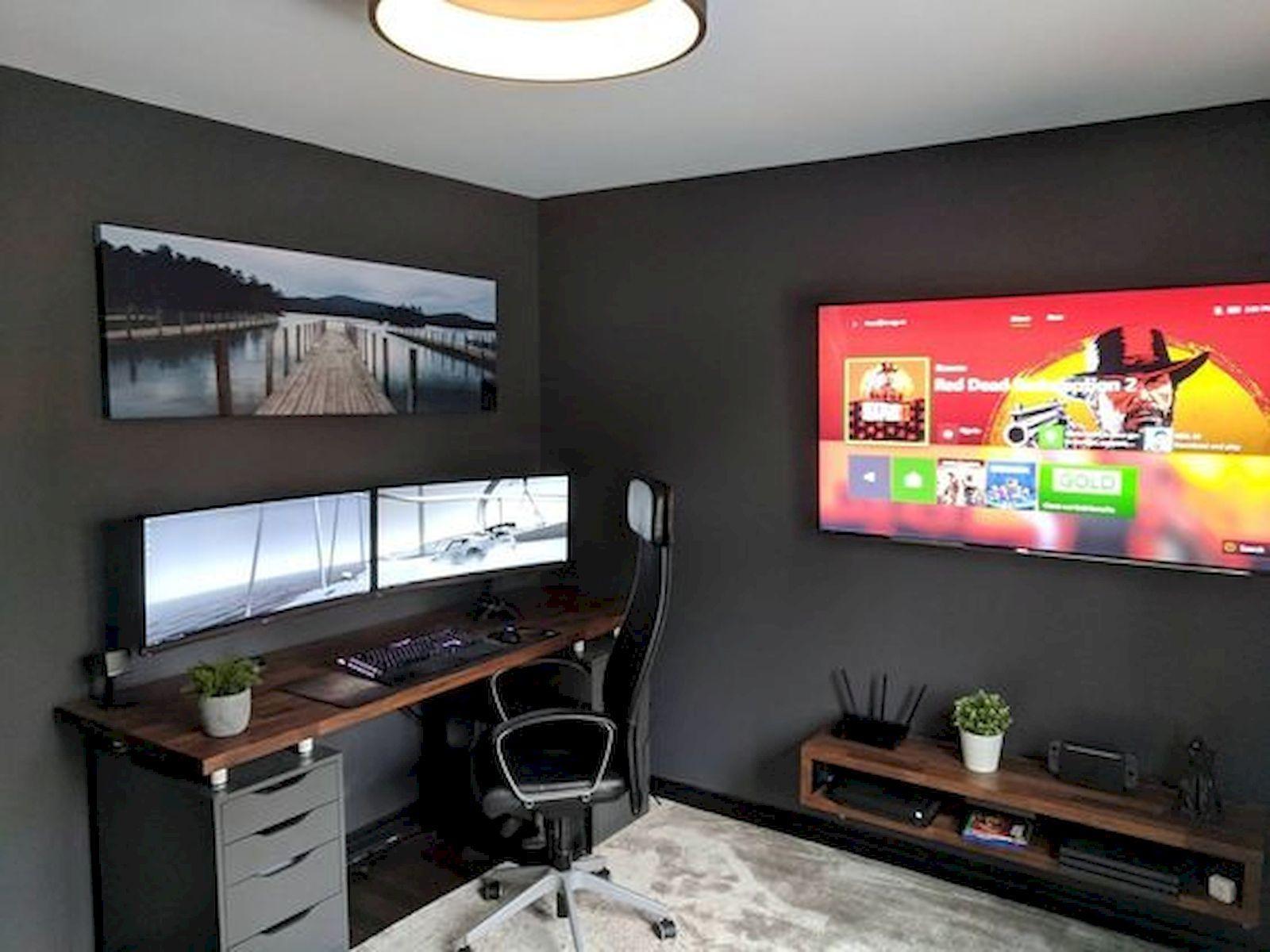 22 Diy Computer Desk Ideas That Make More Spirit Work Enthusiasthome Bedroom Setup Home Office Setup Home Office Design