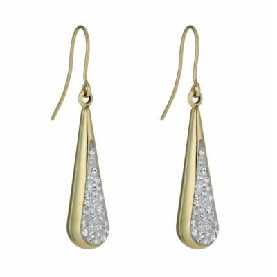 Together Bonded Silver 9ct Gold Crystal Drop Earrings H Samuel The Jeweller