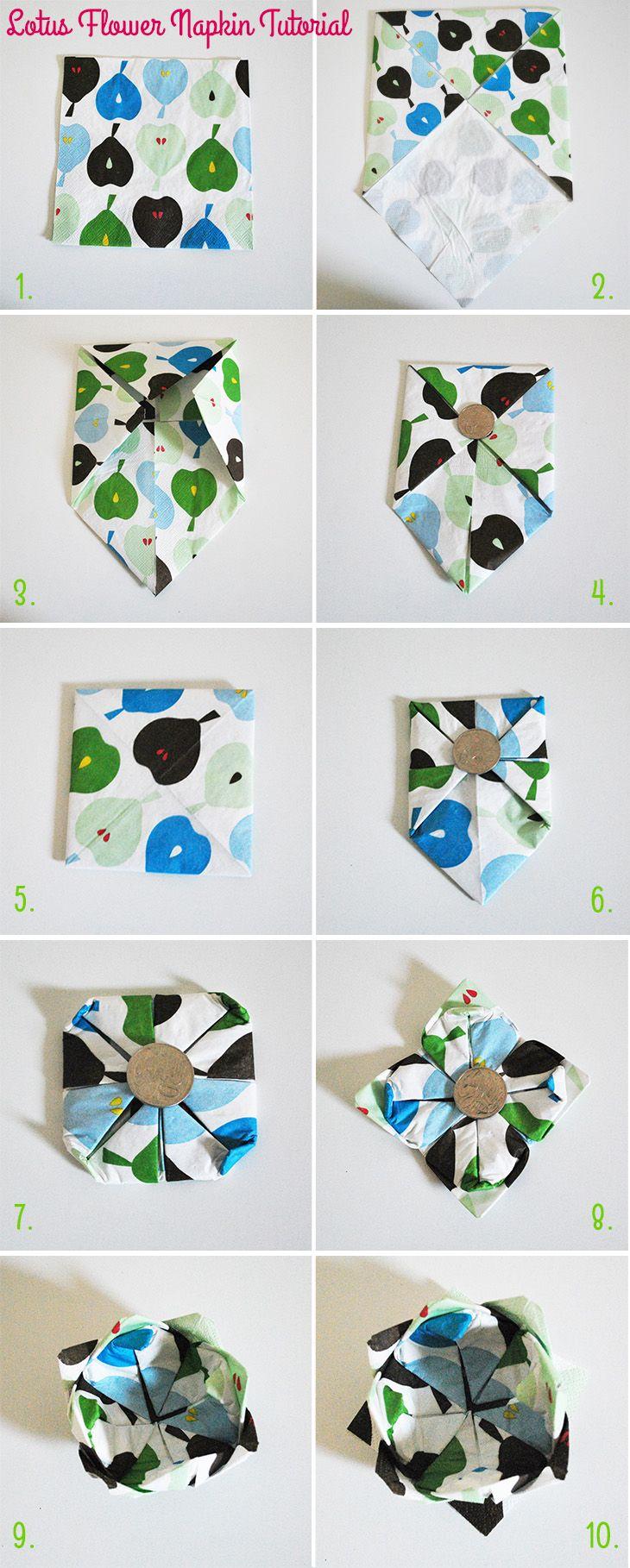 diy lotus flower napkin tutorial on style for a happy. Black Bedroom Furniture Sets. Home Design Ideas