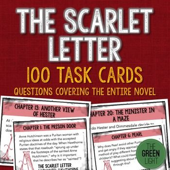the scarlet letter task cards: quizzes, discussion questions, bell