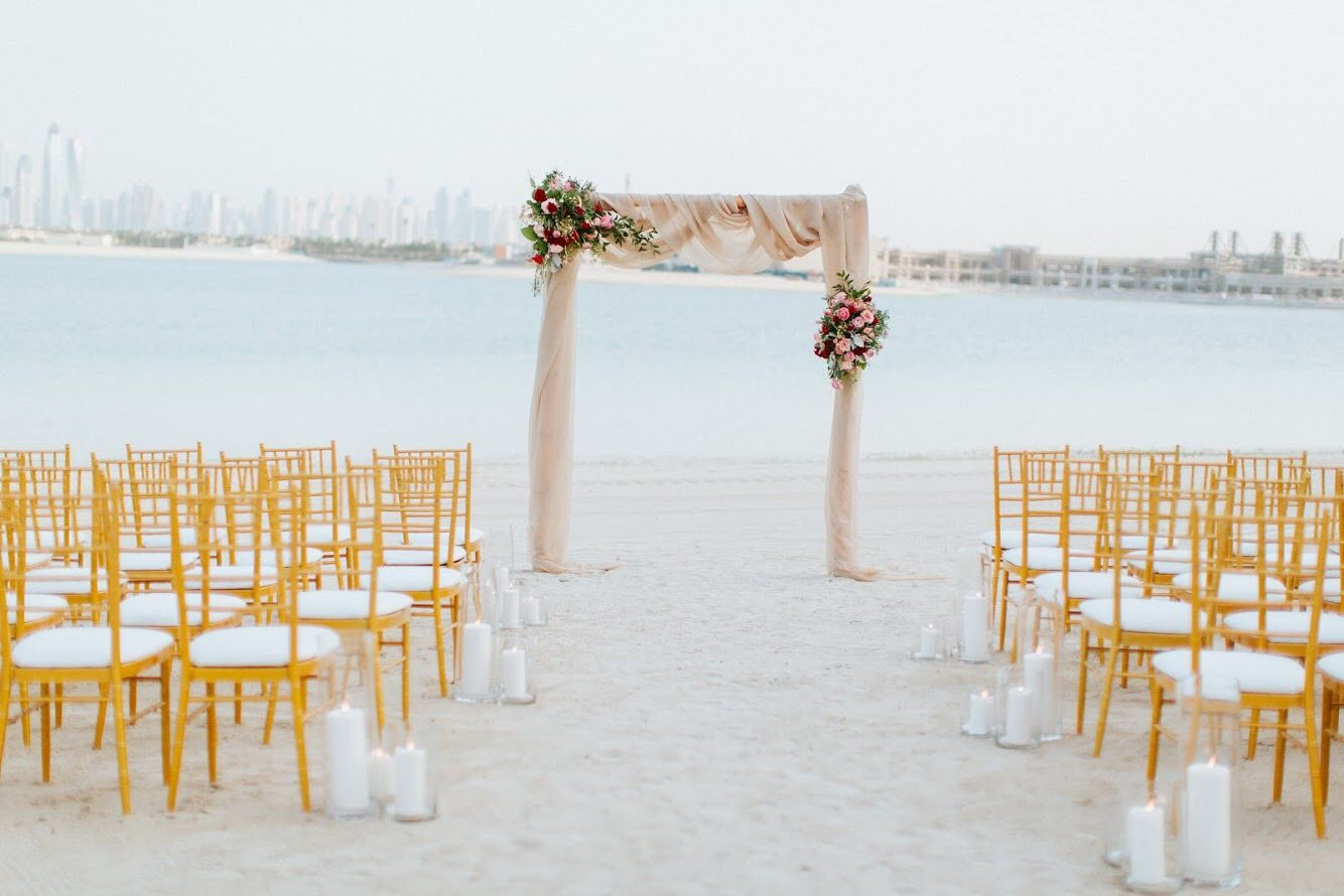 Dubai Beach Wedding Ceremony Champagne Fabric Arch With Gold
