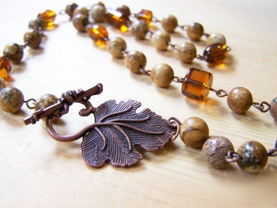 Natural Jasper Stone Amber Glass Copper Beaded by CYDesignStudio, $22.95