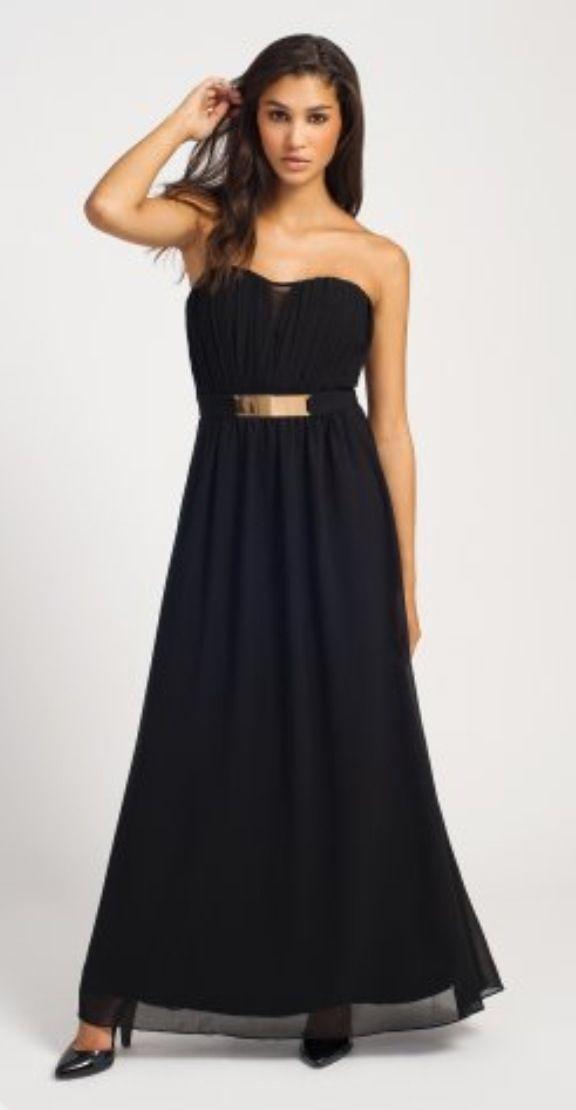 34633ac39b Little Mistress Black Pleated Belted Bandeau Chiffon Maxi Dress ...