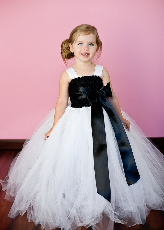 2f309dcd95 Adorable black and white flower girl dress with tulle and a black bow!