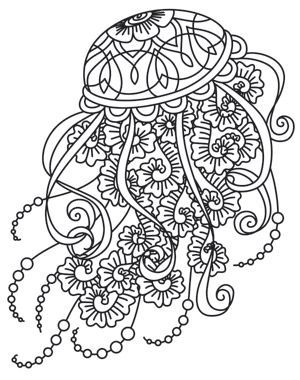 Drifting Jellyfish Abstract Doodle Zentangle Paisley Coloring Page