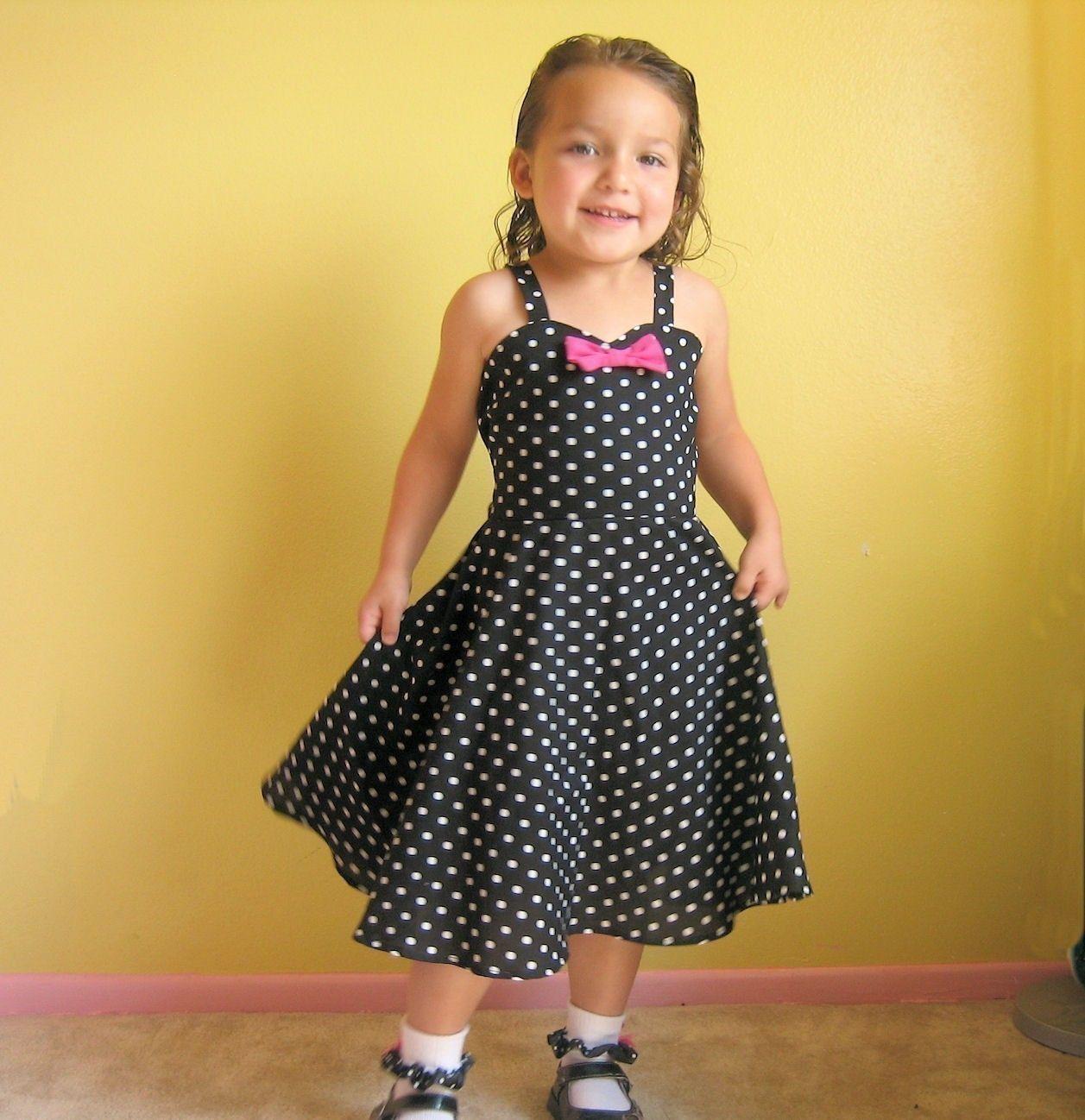 Retro black polka dot twirly circle skirt swing dance dress hot pink