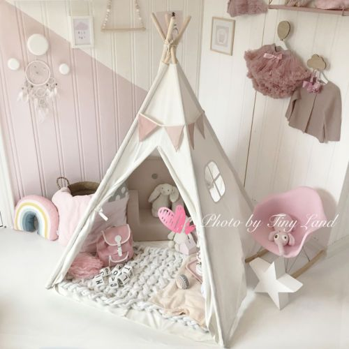 Large Cotton Canvas Kids Teepee Tent Childrens Wigwam Indoor Outdoor Play House & Large Cotton Canvas Kids Teepee Tent Childrens Wigwam Indoor ...