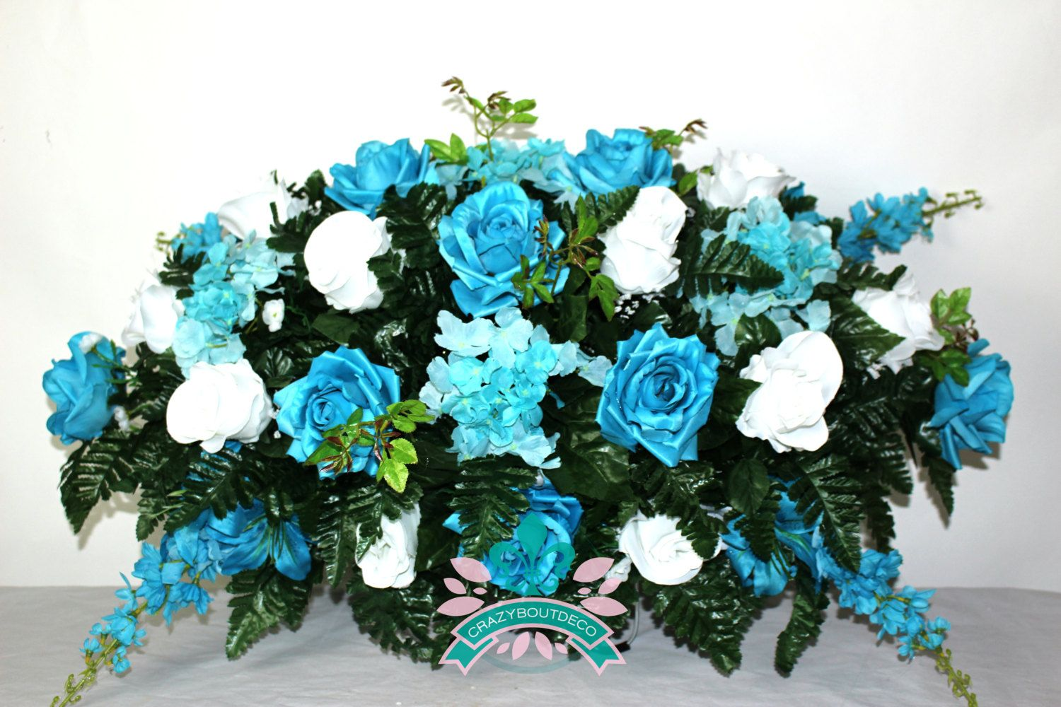 Beautiful XL Roses And Hydrangea Tombstone Headstone Saddle by Crazyboutdeco on Etsy