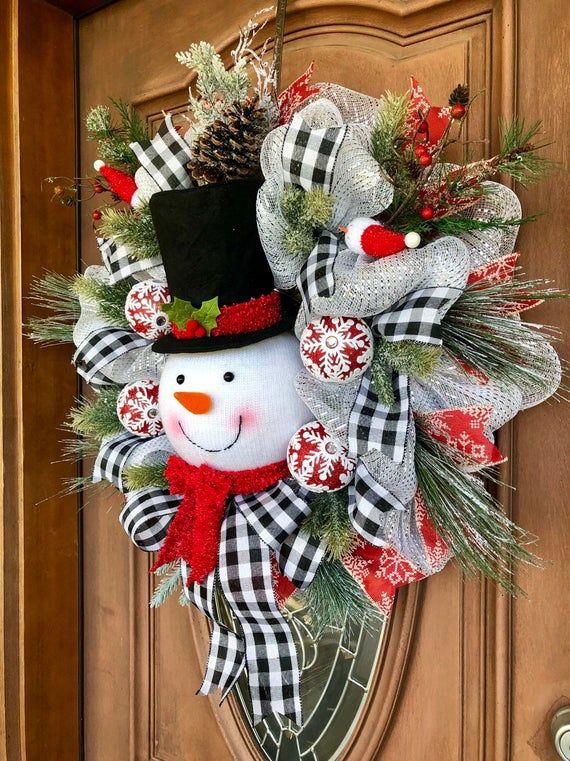 winter wreath Snowman wreath Christmas wreath snowman decor