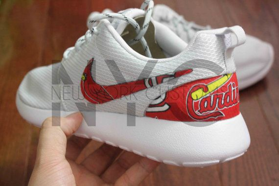 Nike Roshe Run Grey White St. Louis Cardinals Custom by NYCustoms