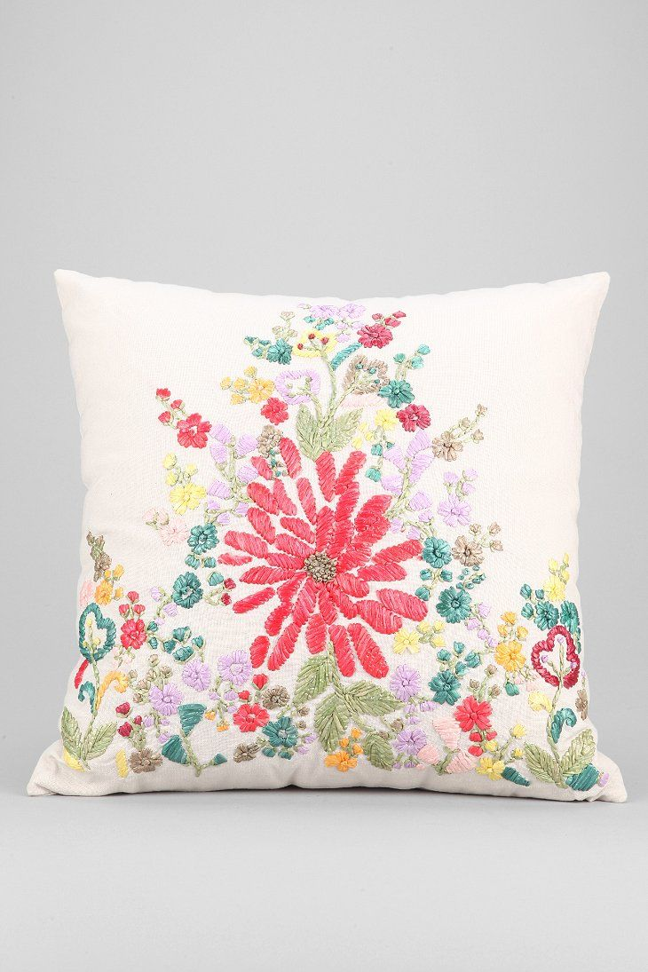 Plum & Bow Floral Raffia Pillow Urban Outfitters