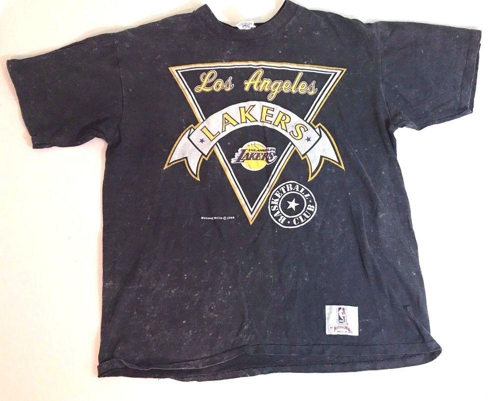 81b04121568 Vintage 1988 NUTMEG MILLS Mens XL LAKERS NBA T-Shirt GRAY Basketball Club LA   Nutmeg  BasicTee