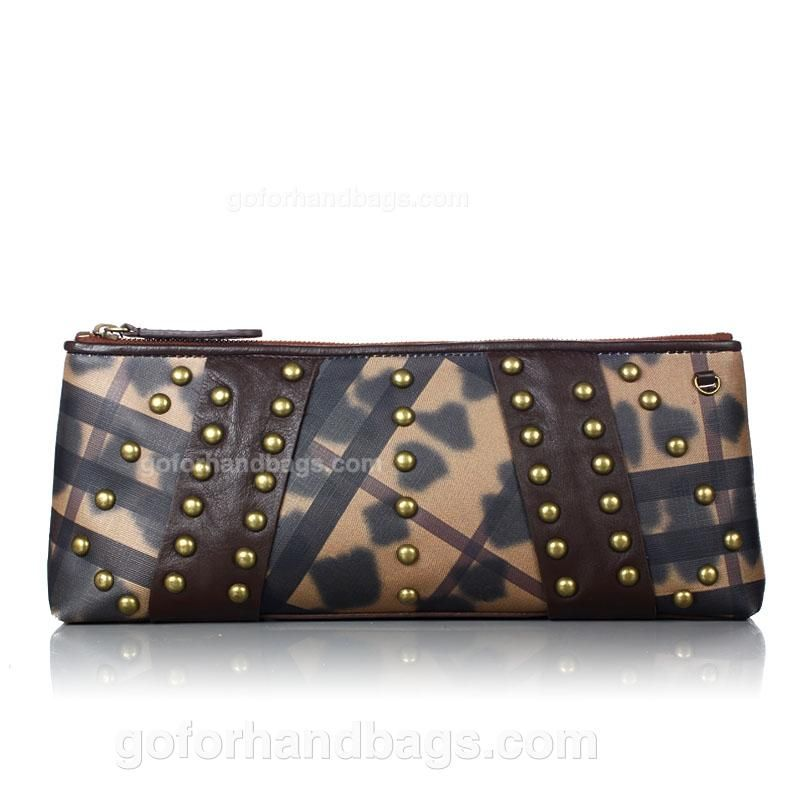 Burberry 1 Grade Tie Dye Smoked Check Canvas Studded Clutch With Coffee Leather Trim