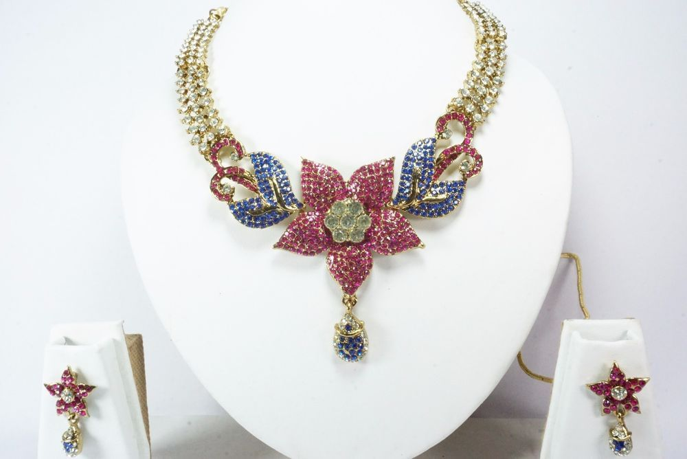 Indian Designer Gold Necklace Pendant Earrings Set Bollywood Traditional Jewelry #Handmade
