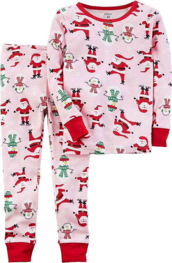 carters christmas 2 pc pajama set girls