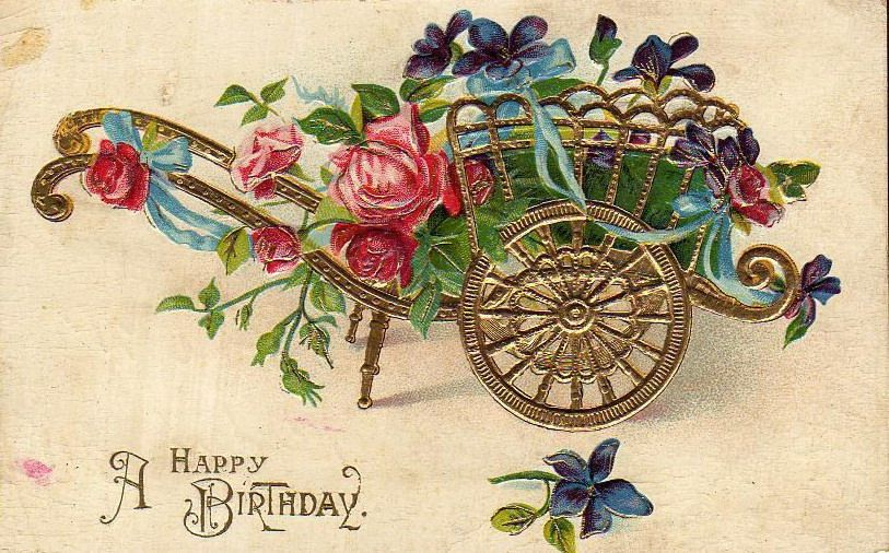 Free vintage birthday card designs free printable birthday cards vintage gold flower cart birthday card a happy birthday bookmarktalkfo Image collections