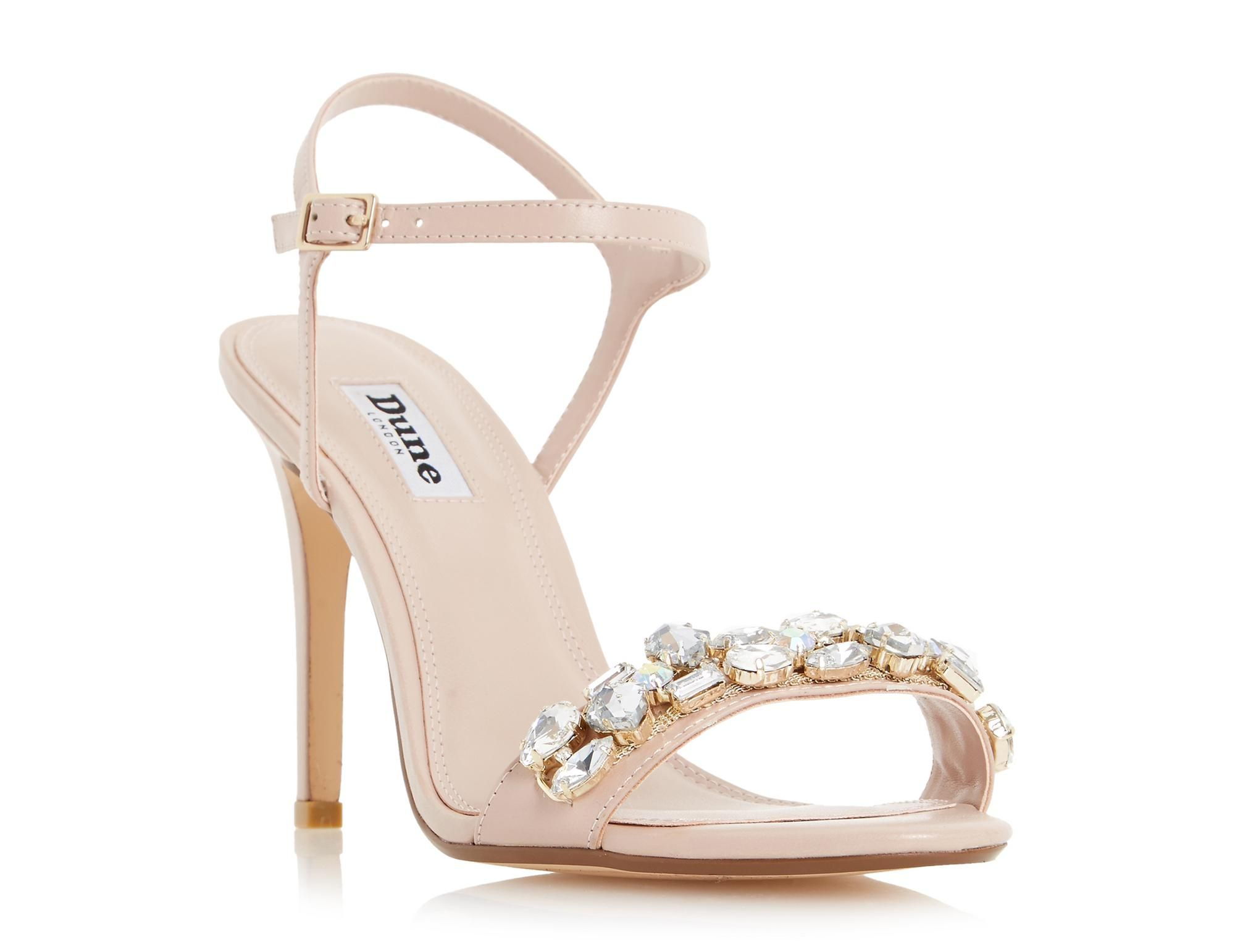Make a splash on the dancefloor with this chic bejewelled high heel sandal.  Features a