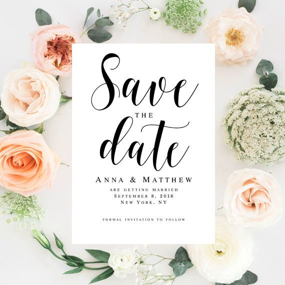 Wedding save the date template Wedding template Printable save the - Save The Date Wedding Templates