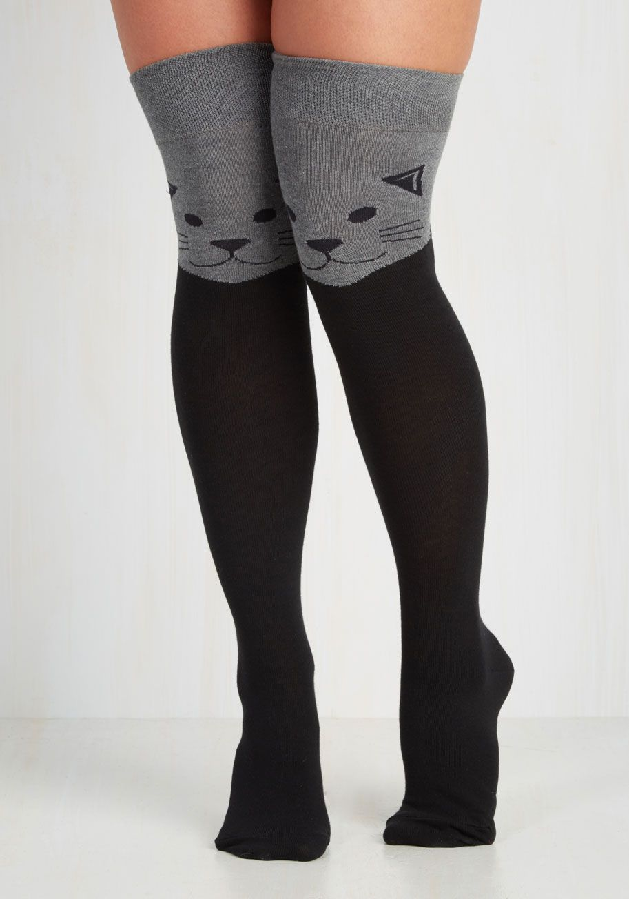 9d7b59567d7fc Fur the Win Thigh Highs in Cat | Mod Retro Vintage Socks | ModCloth.com